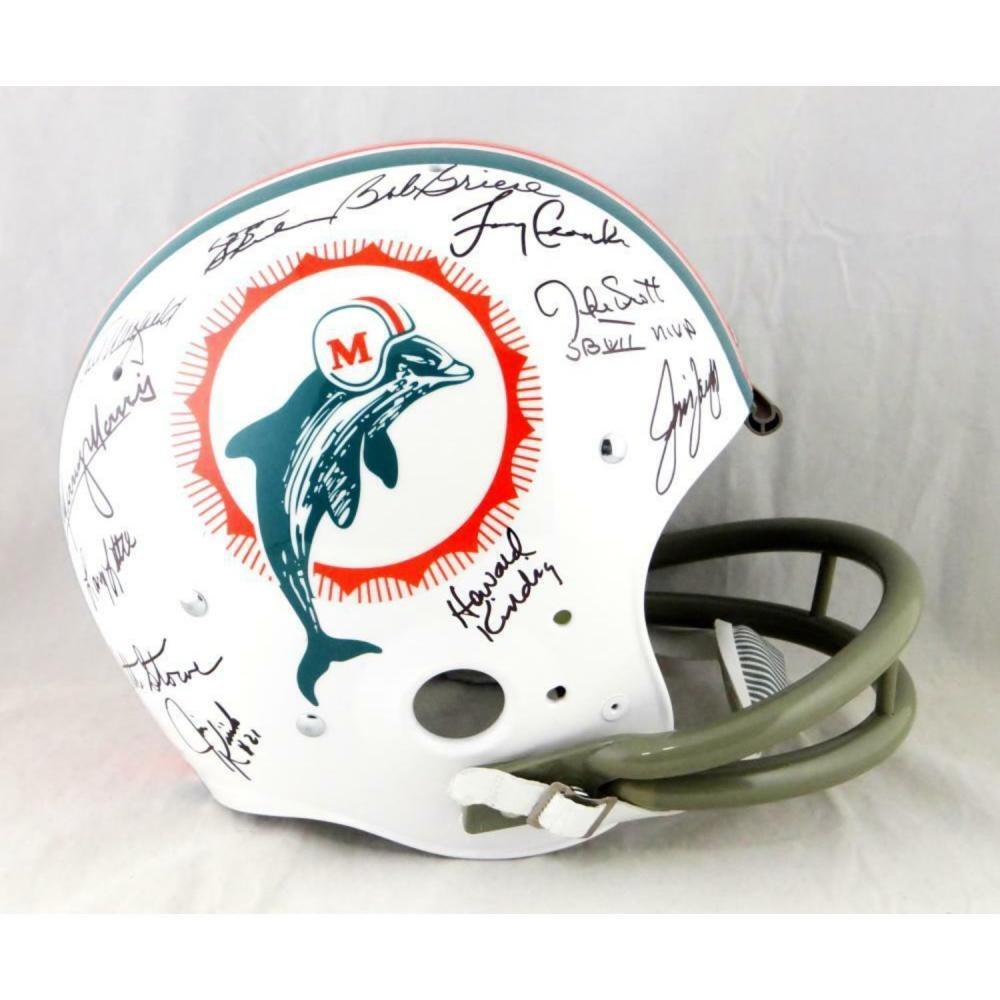 72 Miami Dolphins Autographed F/S TK Helmet w/ 27 Signatures -JSA-W Auth *Black