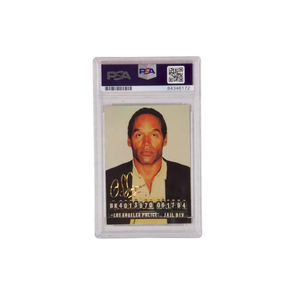 "OJ Simpson Mugshot Signed Card ""#1 Pick"" Inscribed PSA AUTHENTIC RARE"