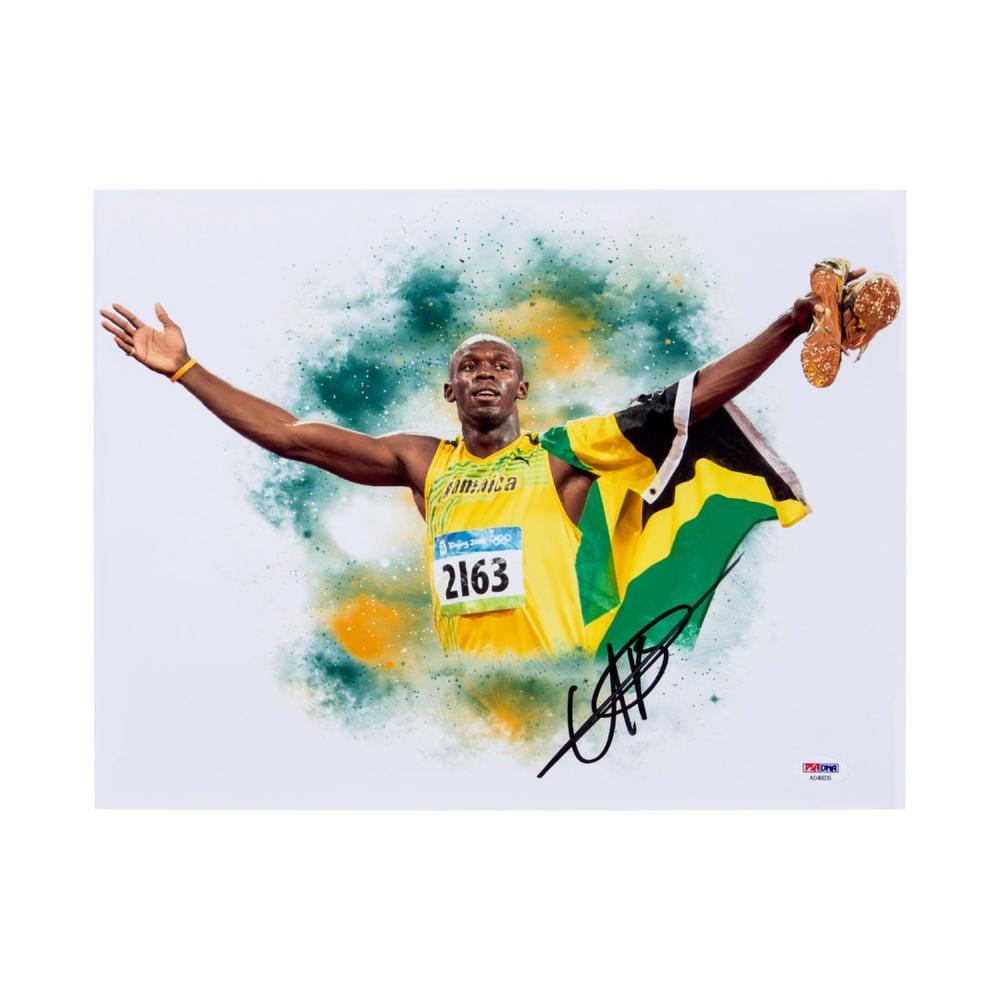 Usain Bolt Signed 11 x 14 Poster With PSA/DNA Authentication