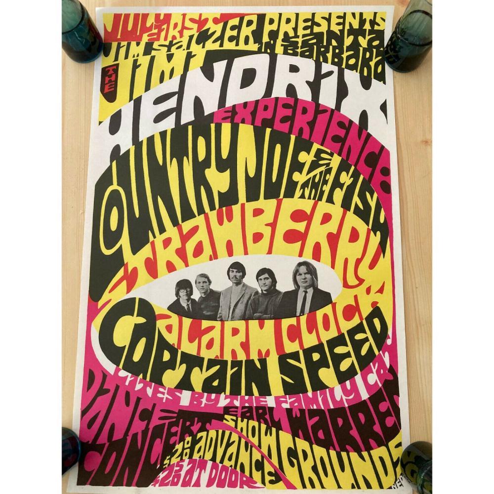 Jimi Hendrix 1967 At The Earl Warren Showgrounds Concert Poster Jim Salzer