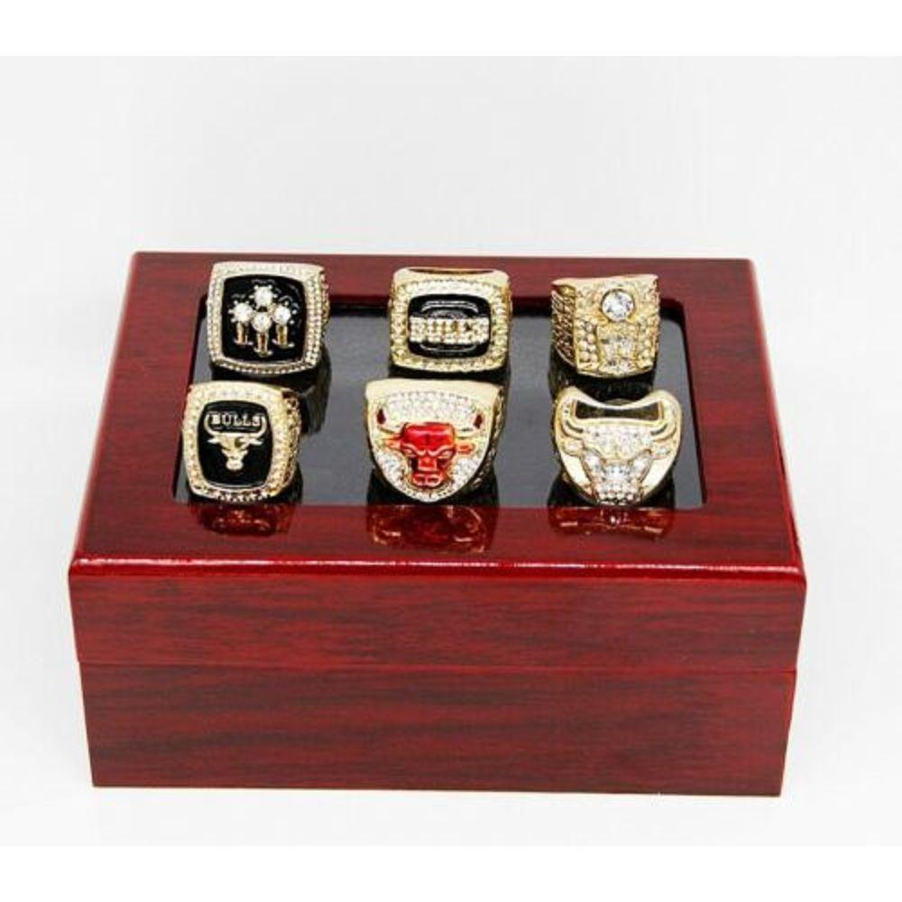 Michael Jordan 6pcs/set Chicago Bulls Championship Rings Size 11 In wood Box Collections