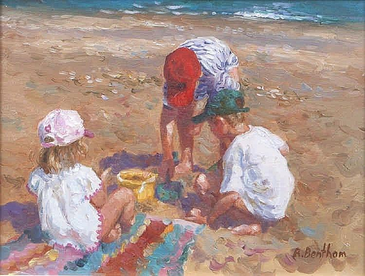 Rick Bentham (20th Century)Playing on the beachOil on board, 15.2 x 20.3cm