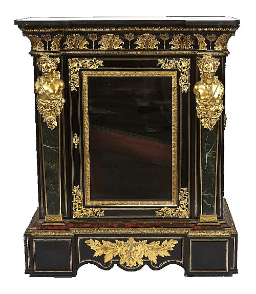 A MAGNIFICENT PAIR OF BOULLE AND ORMOLU SIDE