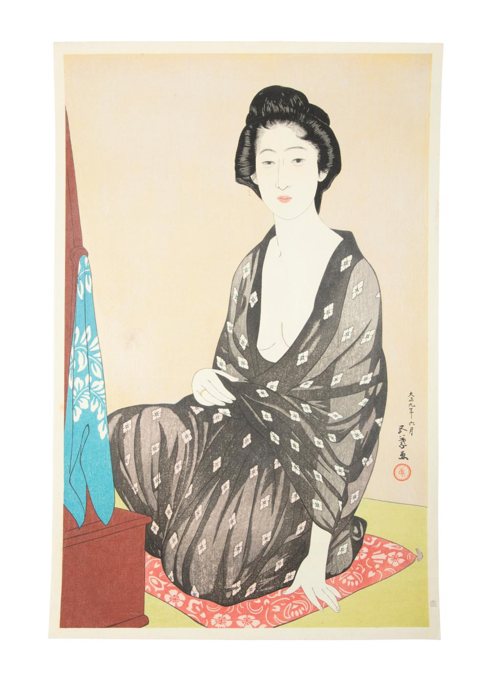 After HASHIGUCHI GOYO 橋口五葉 (Japan, 1880-1921) Woman in summer kimono Oban tata-e / woodblock print 1970s to 1980s Notes: 1. Compare with a related print preserved at The Metropolitan Museum of New York (The MET), The United States of America,