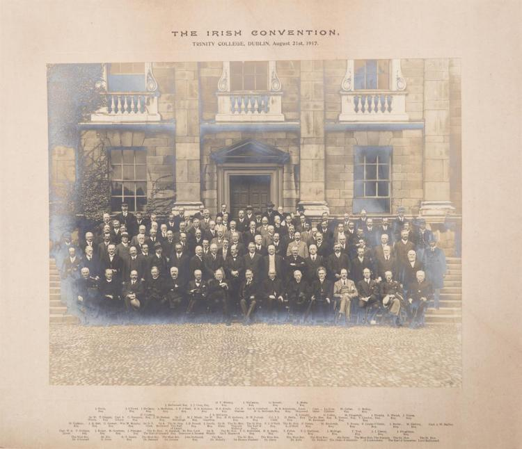 'THE IRISH CONVENTION', TRINITY COLLEGE DUBLIN, 21 August, 1917mounted photograph, 28 x 36cm