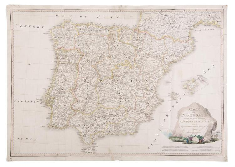 MAP OF SPAIN AND PORTUGAL, divided into their respective Kingdoms and Provinces, from the Spanish and Portuguese Provincial Maps, London, Faden, June 4th 1796, scales in Spanish and Portuguese Leagues, Castilian Legal Leagues, Italian Miles, and Engl