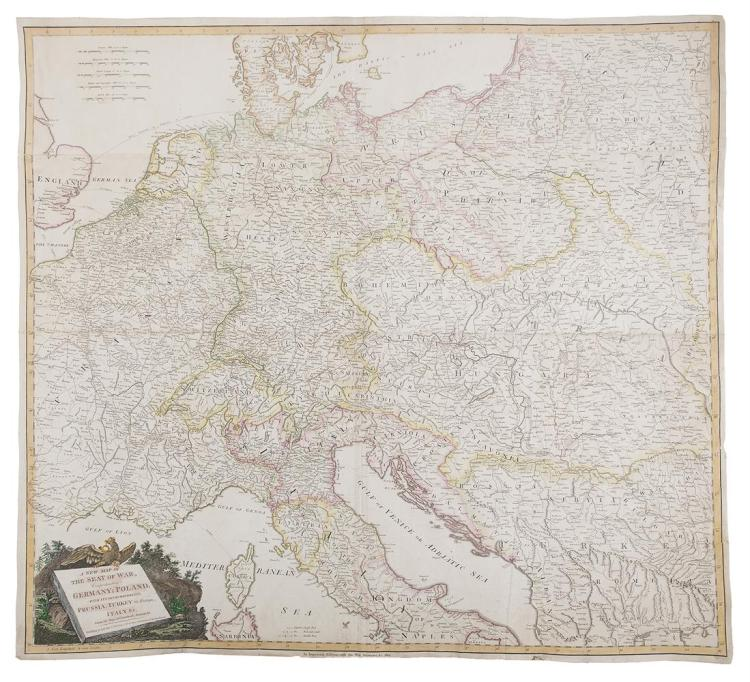 A NEW MAP OF THE SEAT OF WAR, comprehending Germany; Poland, with its Dismemberments, Prussia; Turkey in Europe, Italy &c, from the Maps of Chauchard, Zannoni, &c. London, published by Laurie & Whitle, 1813, hand coloured, scale in German, Hungarian,