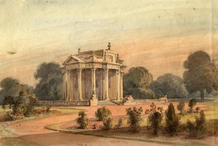 "***PLEASE NOTE MEASUREMENTS IN THE PRINTED CATALOGUE SHOULD READ -170 x 255mm'***IRISH SCHOOL (19TH CENTURY)A view of the Casino at Marino, set within formal planting, woods beyond, Watercolour, 170 x 255mmlater inscribed in pencil verso, ""Temple"