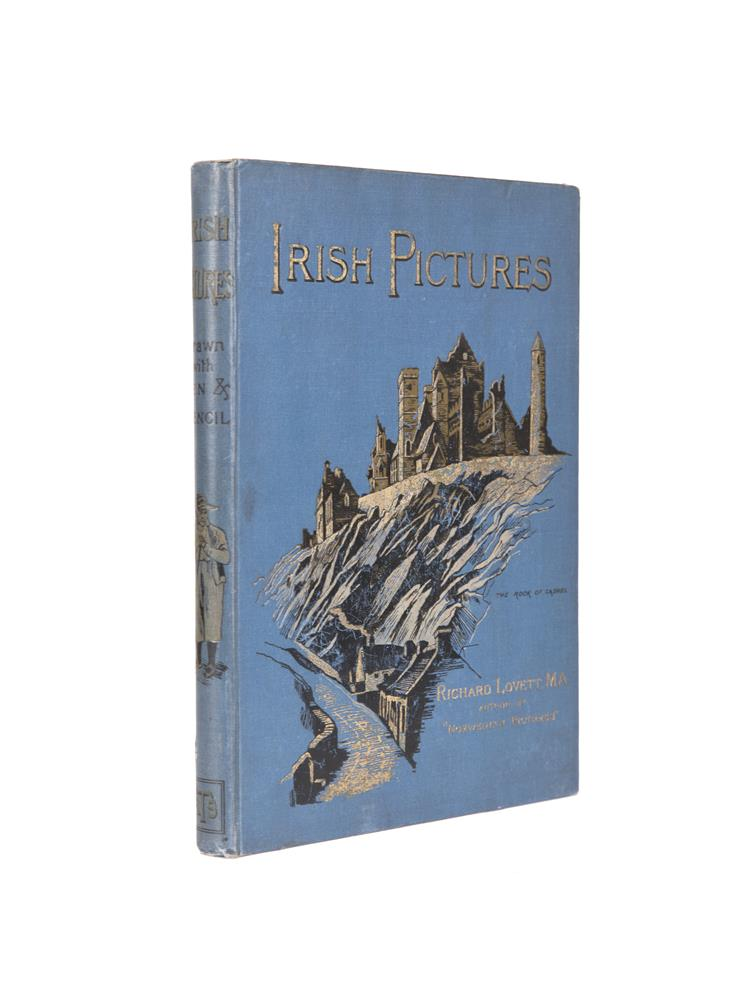 RICHARD LOVETT Irish pictures with pen and pencil, folio, London, The Religious Trust Society, 1888, decorated in blue cloth binding. The illustrations are accurate and as such helpful, for instance the vignette of New Grange shows it as a tree co