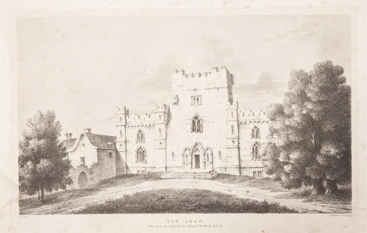 THE LEAP The seat of Admiral Sir Henry D. E Darby K.C.D, K.D fecit/c. Hallmandel's lithography260 x 395mmLeap castle, Coolderry, Co. Offaly, infamous for its 'elemental' ghost was an O'Carroll stronghold and passed by marriage to the Darby's (not