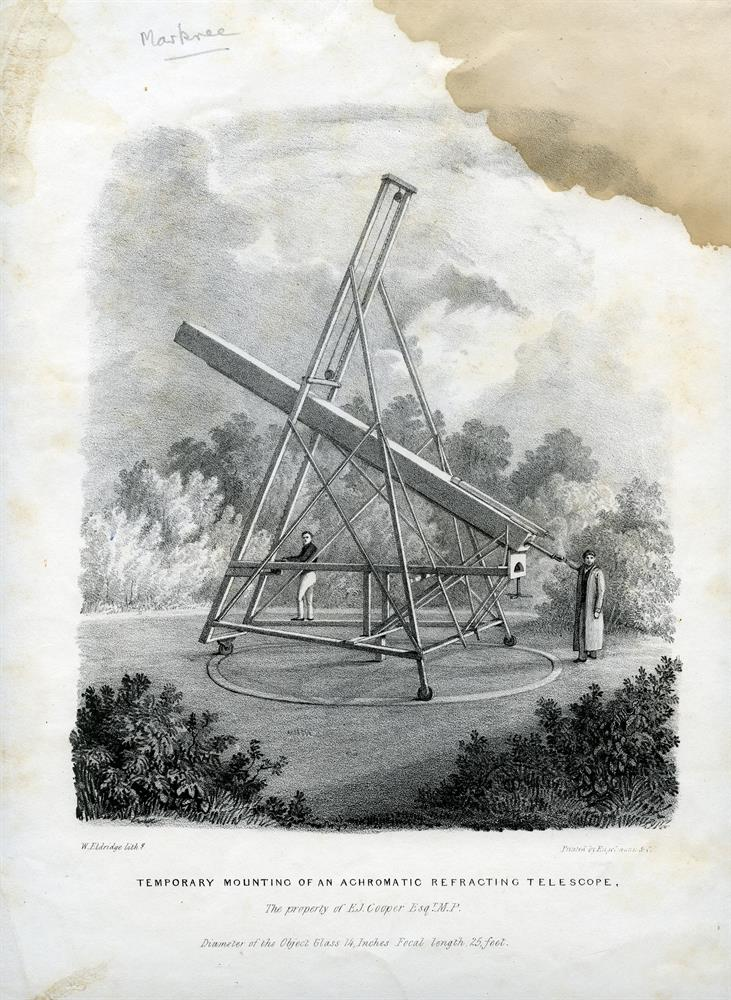 """THE MARKEE CASTLE TELESCOPE""""Temporary Mounting of an Achromatic Refracting Telescope, property of E. J Cooper, Esq. M.P, Diameter of the Object Glass 14 inches, Full length 25 feet"""" by W. Eldridge, lithographer and printed by Eagleman & Co., 280 x 3"""