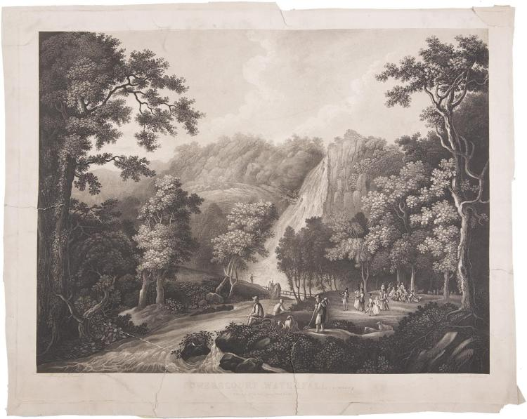 JOHN HENRY CAMPBELL (1757 - 1828)Powerscourt Waterfall, Co. Wicklow, with a pic-mic partyBlack and white acquaint, by A Courcell, 545 x 665mmPublished by Le Petit, Henry Street, Dublin