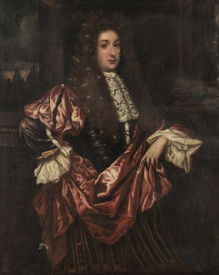 ENGLISH SCHOOL (LATE 17TH CENTURY)Portrait of a Man with full wig, lace cravat and red robe, standing three-quarter length, by a column, in a landscapeOil on canvas, 124 x 100cmIn a good, carved giltwood 18th Century frameProvenance: Rathescar H