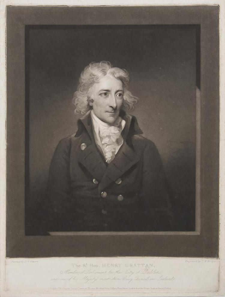 GILBERT STUART (1755 - 1828)The Rt. Hon. Henry GrattanBlack and white mezzotint by C. H. HodgesPublished 15th November 1792 by George Coman at Thomas Macklins Portrait Gallery, Fleet Street London and at his house in Dublin, 400 x 290mm