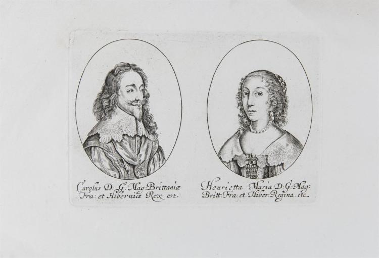 ***WITHDRAWN***A SET OF 11 DOUBLE PORTRAITS ENGRAVINGS OF BRITISH ROYALS AND ARISTOCRACY, comprising:King Charles I and Queen Henrietta Maria, 10 x 14cm; Sir George Crooke and Sir Richard Hulton, 9 x 14cm; Mildmay Fane and Edward Herbert, 9 x 14c