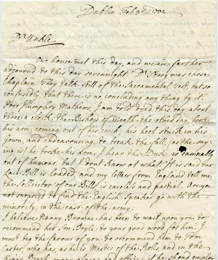 LETTER TO HENRY BOYLE, EARL OF SHANNON, 1732Free of postal charges because Boyle was MP of Cork, form his nephew Henry who informs I hear Dean Swift is writing a history of his own times, in verse. Possibly referring to Swift's 'Drapier's Letters'