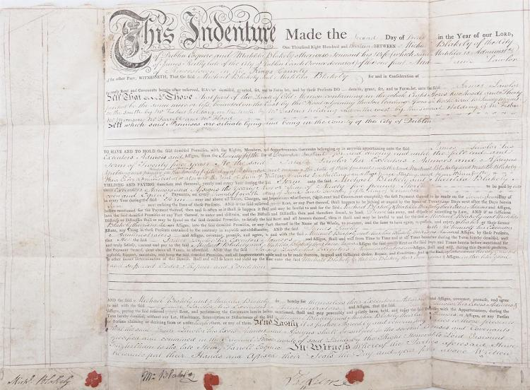 INDENTURE ON VELLUM DATED 4TH MARCH, 17.. between Henry, Viscount Palmerstown and James Reilly of the City of Dublin (coach owner) for lease of lands at Cullenswood, sealed and signed by the principals, with coloured outline survey map, on vellum, en