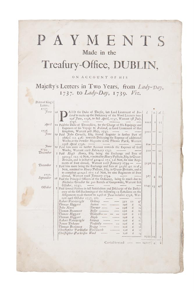 DUBLIN CASTLE ADMINISTRATION Payments made in the Treasury Office Dublin in account of his Majesty's Letters in two years from Lady Day 1737 to Lady Day 1739,Printed doubled-sided folio by Samuel Fairbrother, printer to the Honourable House of Comm