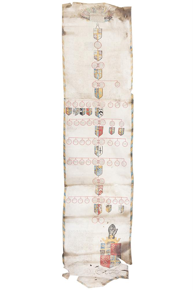 BURTON OF LONGMER HALL (EARLY 18TH CENTURY)An illuminated genealogical scroll of this English family, vellum, early 18th century, headed by a military trophy for Edward Burton c.1466, running through nine generations to Robert Burton, High Sheriff o