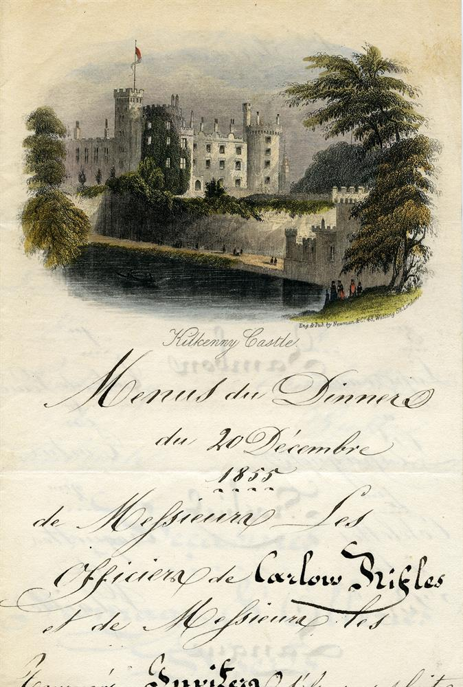 CARLOW RIFLES TREAT THEMSELVES TO A CHRISTMAS DINNER, 1855Menus du dinner du 20 Décembre 1855 de Messieures Les Officiers de Carlow Rifles in Deux Services. There are 16 dishes turkey, ham, beef, tongue etc. exotic puddings and savoury has woodcock