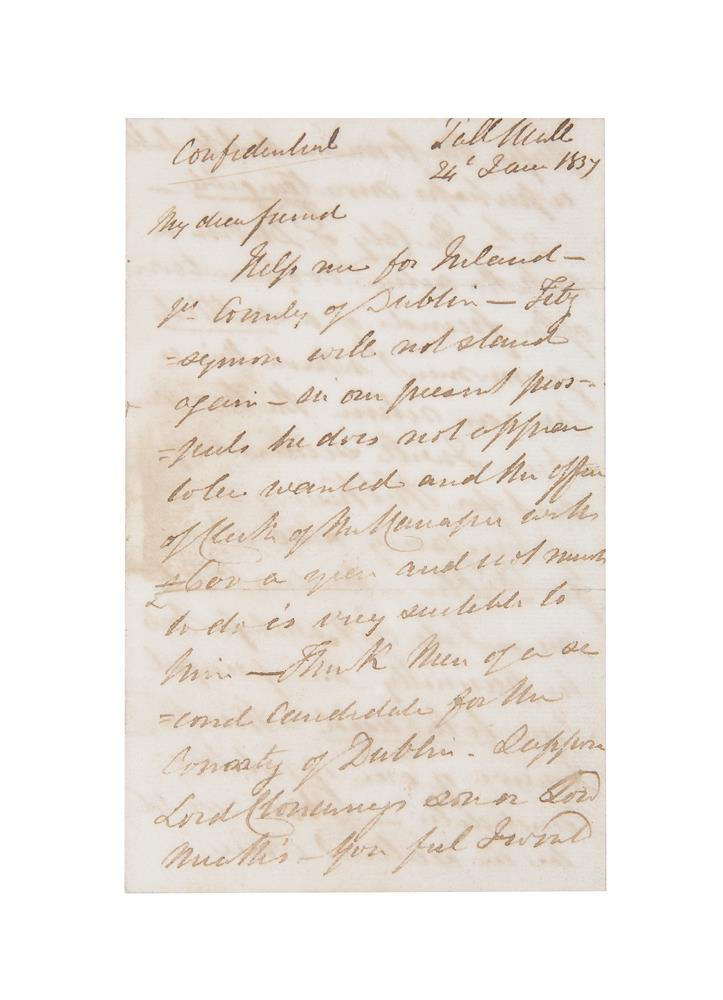 LETTER FROM DANIEL O'CONNELL M.P TO WILLIAM MURPHY, dated 24th January 1837, regarding the potential candidates for County Dublin in the upcoming General Elections. Lord Fitzsimons, who was Daniel O'Connell's son-in-law was one of two MPs elected for