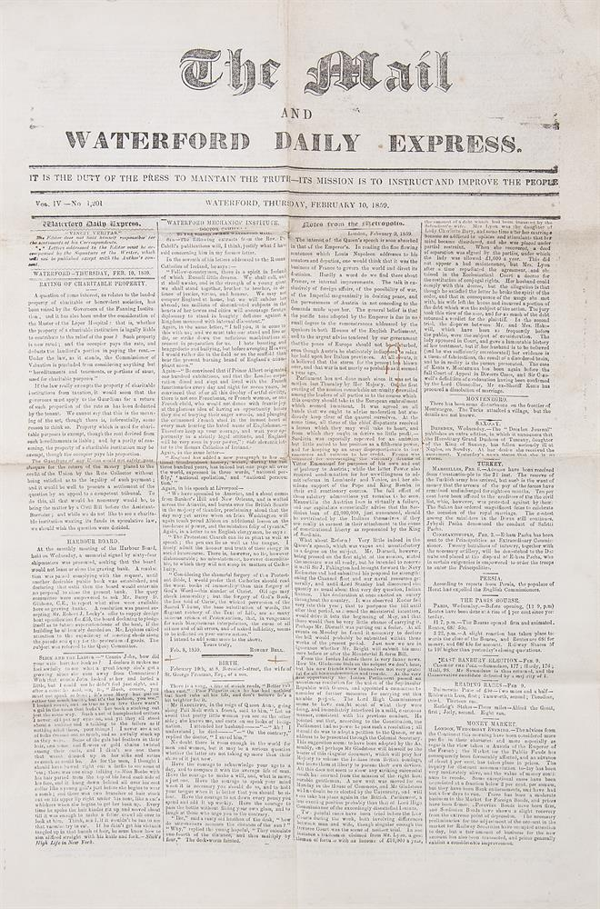 THOMAS WILSON ESQ Borough of Waterford Commission of the Peace, 1867, document on vellum recording the addition of Thomas Wilson Esq to the Justices of Peace for the Borough of Waterford, witnessed by James Marquis of Abercorn Lieutenant General and