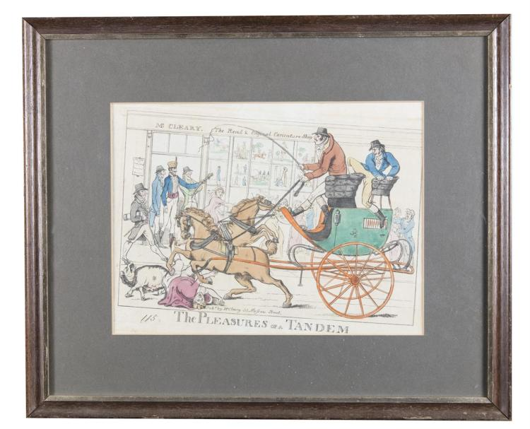 McCLEARY, (PUBLISHER), 32 NASSAU STREET, c.1800The Pleasures of a Tandem, the shop in the background with signage'McCleary, The Real and Original Caricature shop'Old, probably contemporary colour, 240 x 350mm ABL REF