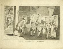THE FORTUNATE FARRIER A black and white engraving, no publisher, c.1790, a flunkey presenting a prize of £500 to a blacksmiths family, in the background the building of the State Lottery Office with the signage ?Tickets and Shares Insured to return