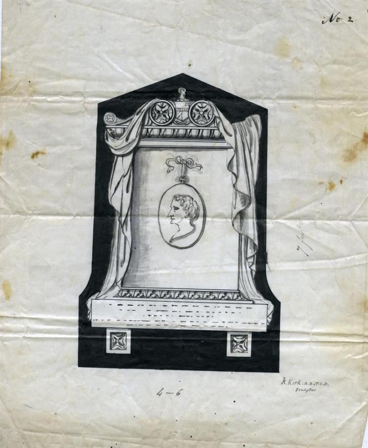 JOSEPH ROBINSON KIRK (1821 - 1894)Design for a 'Roman' memorial centered by a medallion with profile portrait,Ink and black wash on linen glazed paper, 7 ft high x 4ft wideSigned J.R KIRK A.B T.C.D sculptor