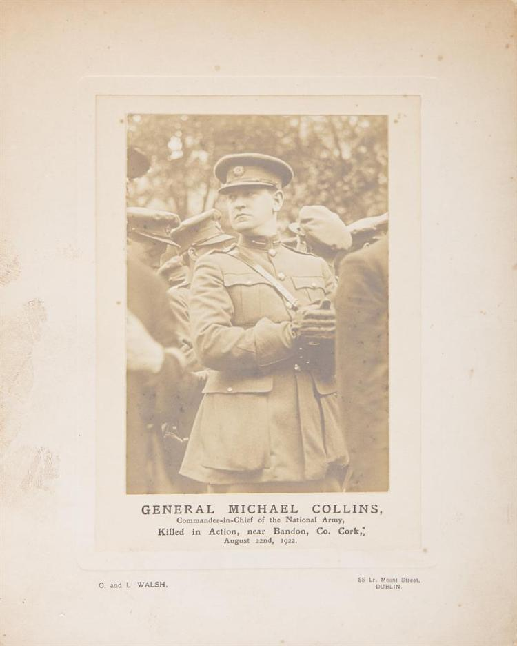 C. AND L. WALSH, 1922Photographic portrait print of Michael Collins, on card with inscription 'GENERAL MICHAEL COLLINS, Commander-in-chief of the National Army, Killed in Action, near Bandon, Co. Cork. August 22nd, 1922. With inscription verso and d