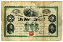 A FENIAN BOND CERTIFICATE, Ten dollar, issued January 15th 1866 by John O'Mahony (Agent for the Irish Republic), to Luke Walsh, No. 1164/1387, with O'Mahony's signature in plate, printed by Continental Bank Note Printing Company of New York, approx.