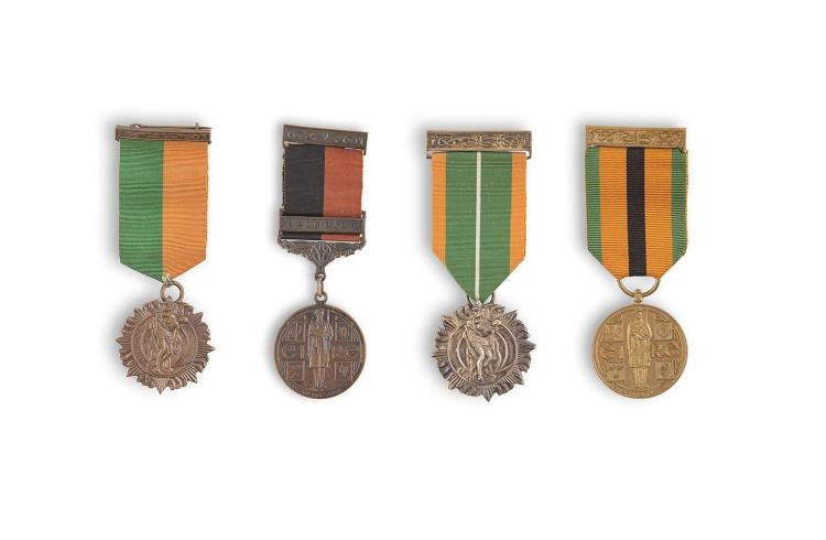 A SET OF MEDALS AWARDED TO MR. MÍCEÁL O'RIORDAN, C Coy 2nd Battalion Dublin Brigade, comprising the 1916 Easter Rising medal, with ribbon and clasp bar; the rare 1966 Easter Rising Survivors medal, with ribbon and clasp bar; the 1921 War of Indepen