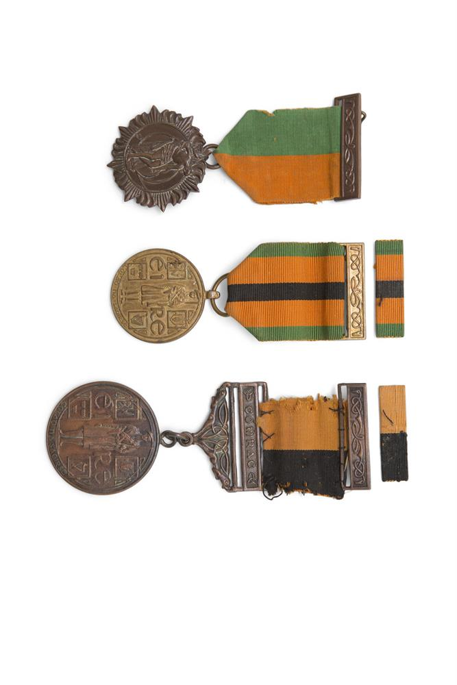 """A SET OF MEDALS AWARDED TO PATRICK CONNELLY, comprising 1916 Easter Rising medal, the 1921 War of Independence medal with """"Comrac"""" bar, ribbon and clasp bar and the 1971 War of Independence survivors medal with ribbon and clasp barPatrick Connolly w"""