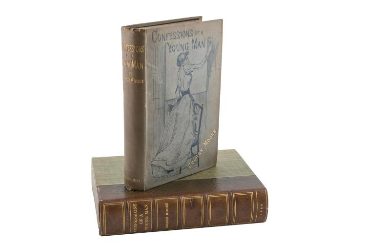 MOORE, GEORGEConfessions of a Young Man, London: 1888, first edition, preserved in a folding cloth chemise, within a custom made leather-backed cloth box.