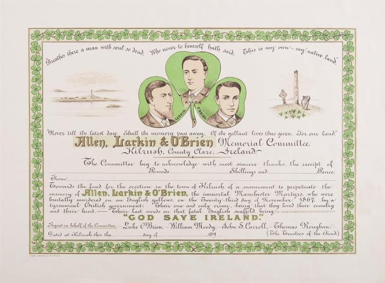 MANCHESTER MARTYRSAn attractive colour-printed certificate to acknowledge a donation to the Allen, Larkin and O'Brien Memorial Committee, Kilrush, Co. Clare, 1890s, printed by Coster, Johnston & Co., Dublin, circa 51 x 38cm, no details entered, rare