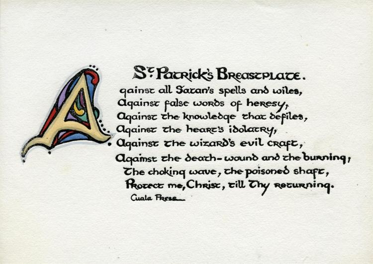 ***PLEASE NOTE THE DESCRIPTION SHOULD READ 'CUALA PRESS, ST PATRICK'S BREASTPLATE. OBLONG OCTAVO CARD PRINTED ON ONE SIDE ONLY'***CUALA PRESS St. Patrick's Breastplate. Oblong octavo card printed on one side only. Text with illuminated initials, Du