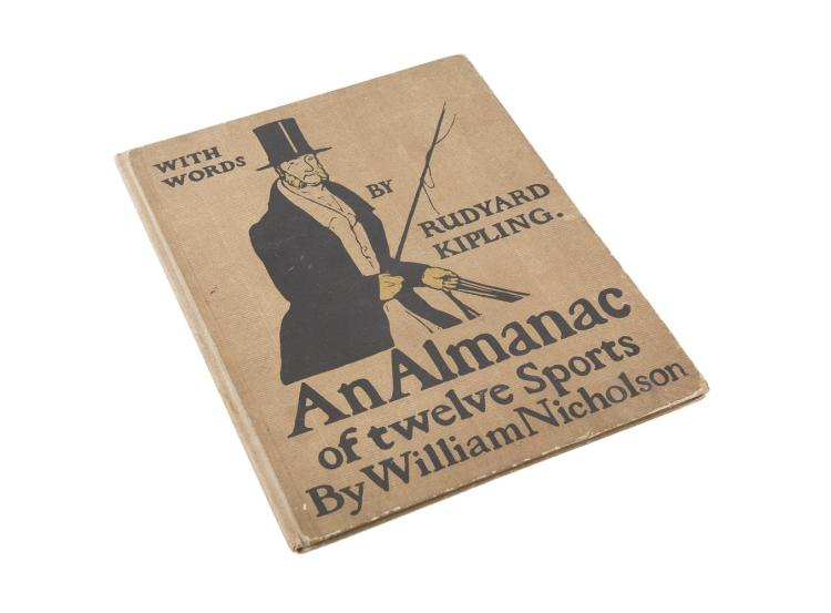 NICHOLSON, WILLIAMAn Almanac of Twelve Sports, words by Rudyard Kipling. Illustrated with twelve full page colour lithographs, London, published by William Heinemann, 1898, royal quarto, quarter linen on illustrated paper boards, tiny piece wanting