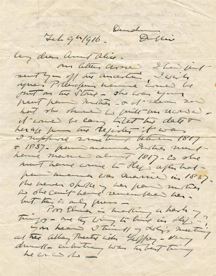 YEATS, LILYAutograph letter signed by Lily Yeats at, Dundrum, Dublin, dated February 9th, 1916. Two pages quarto. Written to her aunt Alice, an interesting letter in which she discusses the Pollexfen family history, when her mother came to Sligo.