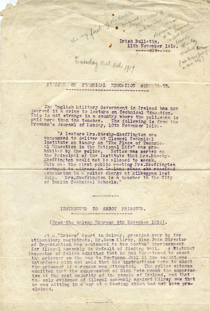 THE IRISH BULLETIN 1919Issues 1 of this important cyclostyled news-sheet, 11 November 1919, detailing the decreed by the English Military Government in Ireland that 'it is a crime to lecture on Technical Education' and a verdict from the Crimes cour