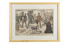 PROTECTING THE WEAKSupplement Grais with United Ireland, Saturday July 19th, 1890, 27 x 38cm, framed; together with a supplement from the Weekly Freeman, dated 4th August 1888, 'HIDE AND SEEK', 28 x 41cm. (2)An eviction scene, a pathetic Irish fami