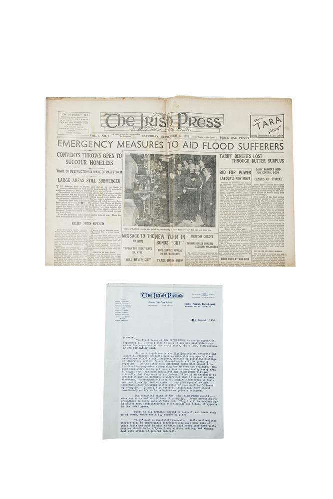 IRISH PRESS NEWSPAPER, Vol. 1 no. 1, Saturday Sept. 5 1931. A clean copy of the first issue, with 2 page TLS from the news editor Robert Egan inviting the unnamed recipient to act as correspondent at the usual rates, giving some interesting guideline