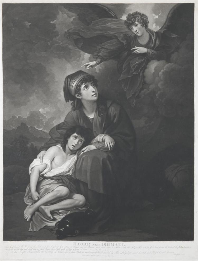 VALENTINE GREEN AFTER BENJAMIN WEST,Hangar and Ishmael, 1805Mezzotint, 73.5 x 55.5 cm