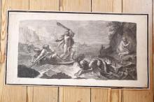 AFTER CHARLES LE BRUNHercules Rescuing Hesione, early 18th centuryEngraving, 30.5 x 60cm
