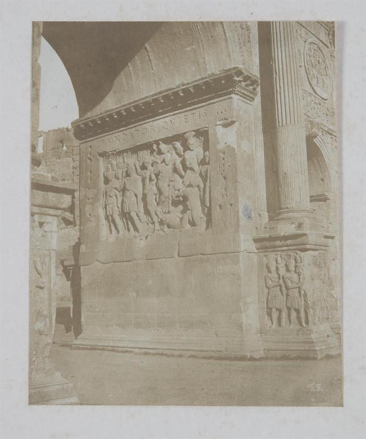A COLLECTION OF EARLY PHOTOGRAPHS, comprising:Francis Firth, Early photograph depicting detail of the Arch of Constantine in the Roman Forum. c.1865, 21 x 17cm; Augusto Ratti, Portrait of a female prisoner, 18th century, 24.4 x 34cm; After Eduard