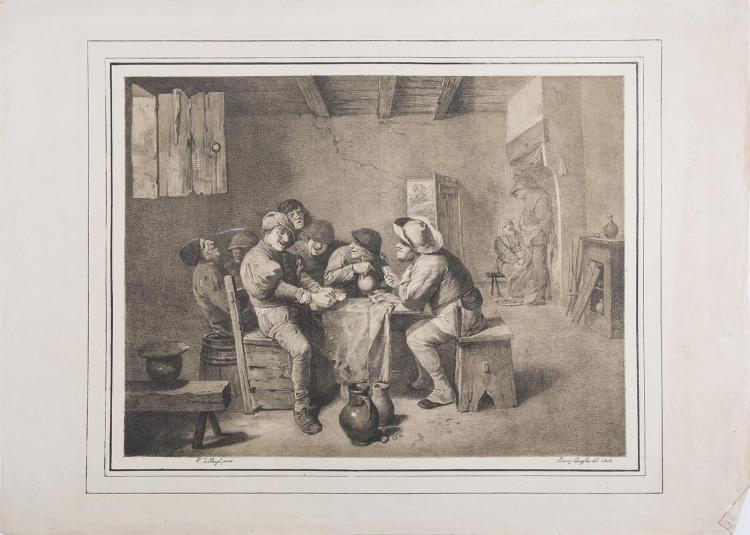 A COLLECTION OF INTERIOR SCENES, comprising:Maleuvre after Craesbeek, Le Rou Pilleur, 19th century, engraving, 37.5 x 26cm; P.C. Canot after David Le Teniers, The Drinking Lovers, dated 1765, engraving, 36.5 x 43.5cm; Loreny Quaglio after Tilborg