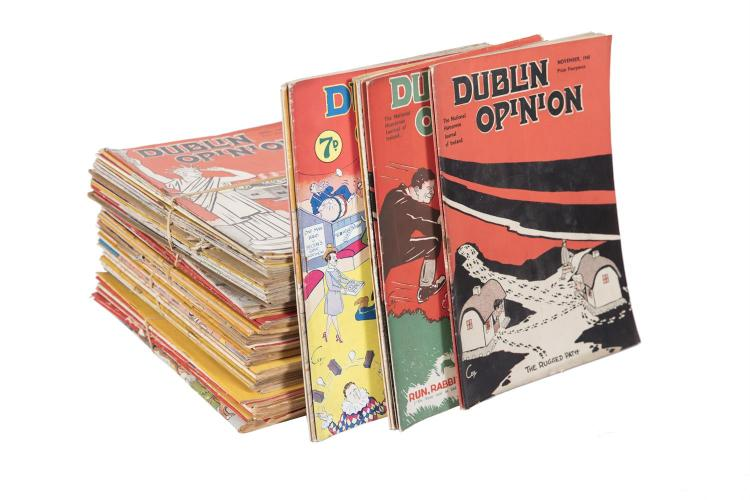 A VERY LARGE SELECTION OF DUBLIN OPINION JOURNALS, 1920s-1960s (contained in seven boxes and divided per decade)The Irish satirical magazine founded by cartoonists Arthur Booth and Charles E. Kelly and writer Thomas J. Collins was launched on 1 Ma