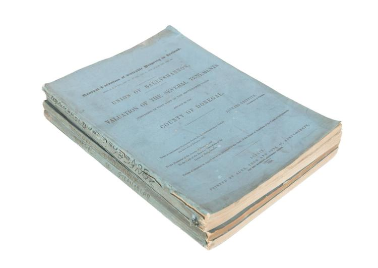 GRIFFITH, RICHARDA collection of General Valuation of Rateable Property in Ireland, County of Donegal, 1857 - 1858, four volumes including: - Union of Ballyshannon - Union of Donegal- Union of Dunfanaghy - Union of Stranolar