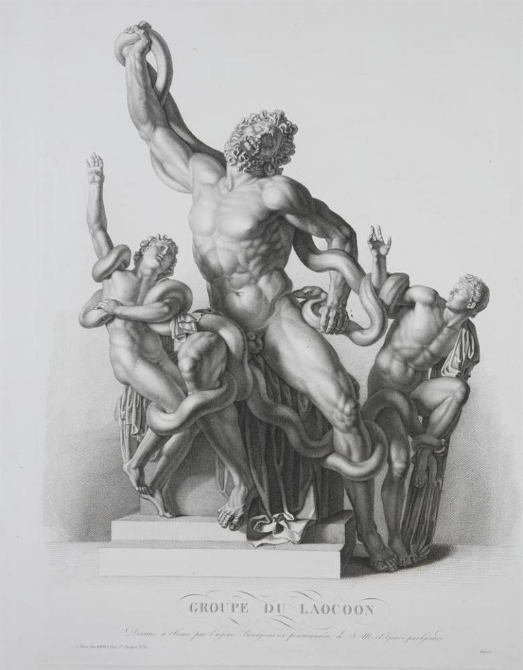 A COLLECTION OF PRINTS AFTER CLASSICAL STATUES AND SCULPTURES, comprising:F. Gregori after Giovanni Bologna, Rape of the Sabine, 18th century, engraving, 48.5 x 26cm; Hyeronimus Frezza, Egyptian Sculpture from the Adriane Villa, dated 1740, engravin
