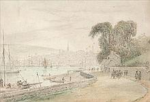 William Daniell RA (1769-1837)  Londonderry seen from the River Foyle Penci