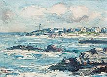 Attributed to Eva Henrietta Hamilton (1876-1960) Coastal Town Oil on board